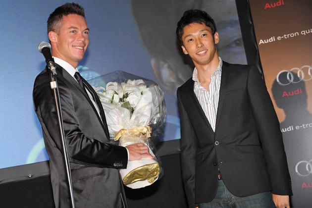 アウディ ジャパン「ルマン24時間レース2012 優勝報告レセプション」Audi アンドレ・ロッテラー選手とトヨタ 中嶋 一貴選手