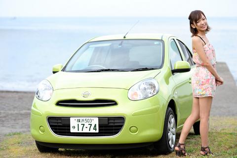 今回のドライブ美人は、日産マーチと鎌田紘子さん。