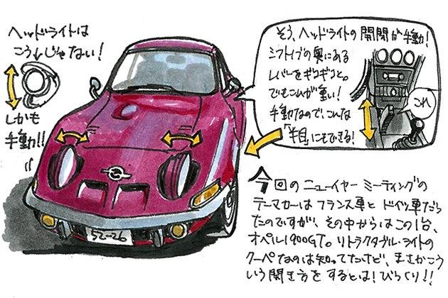 「イラストレータ遠藤イヅルの2013ニューイヤーミーティング初訪問記」2013年1月27日のできごと4「オペル1900GT(1971)」