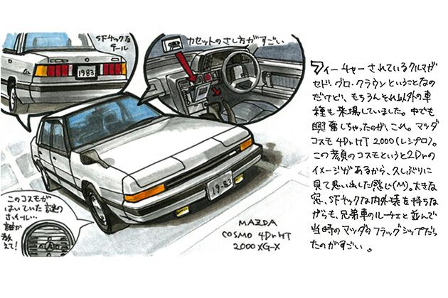 コスモという名前が似合うSFチックなデザイン!「マツダ コスモ 4ドアHT 2000XG-X」[HB型]