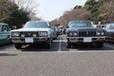 「トヨタ クラウン」[80系]、前期型のHTとセダンの並びです。