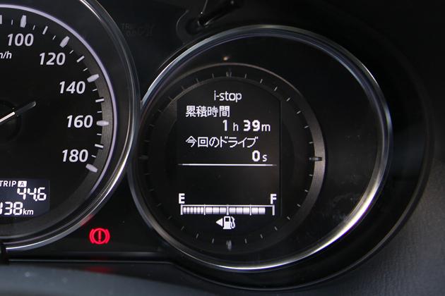 画像はマツダ CX-5のメーター右にあるi-stop表示