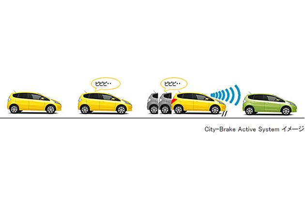 ホンダの新型フィット向け事故回避支援システム「City-Brake Active System」作動イメージ