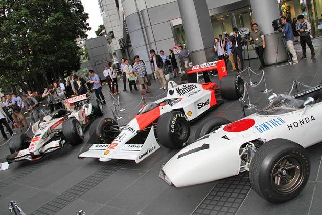 ホンダ青山本社前に集められたホンダの歴代F1マシンたち