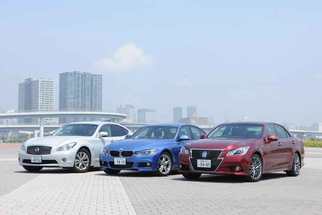 クラウンアスリートと3シリーズとフーガとのハイブリッドを徹底比較 -走りも燃費も満足な上級セダン-
