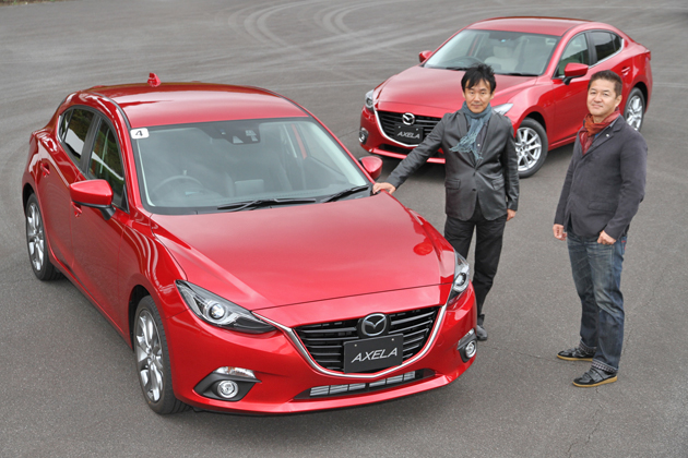 【DESIGNER'S ROOM】インタビューを担当した自動車評論家の森口将之さん(左)と、マツダ デザイン本部 「アクセラ」担当 チーフデザイナー 田畑 孝司さん(右)