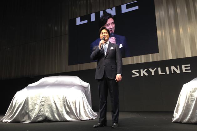 日産 新型スカイライン 発表会にて