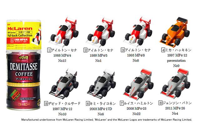 「ダイドーブレンド デミタスコーヒー」 オンキャップキャンペーン 商品イメージと景品/『McLaren MP4 Series Pull-back Collection』(全8種類)
