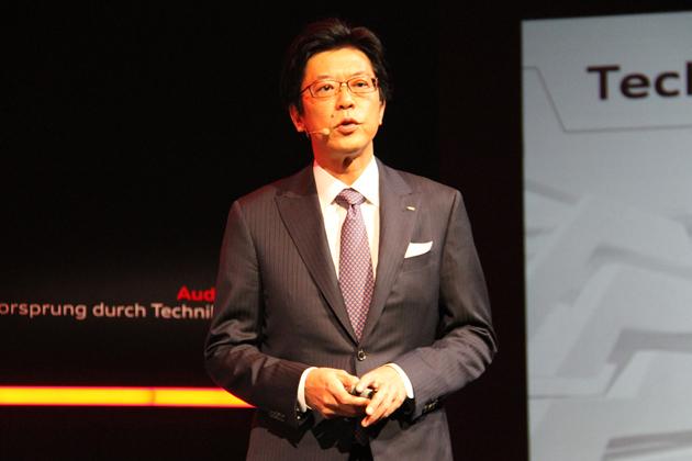 アウディ 新型A8発表会にて、アウディジャパン(株) 代表取締役社長の大喜多氏