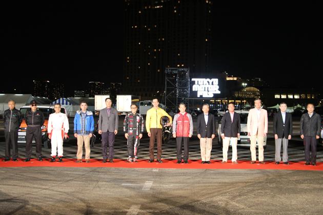 東京モーターフェス2014に参加している自工会13社のトップが、同イベントのプレスプレビューにて集結した