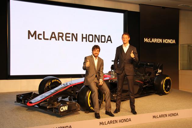 ホンダ F1復帰会見のアロンソ選手とバトン選手が登場
