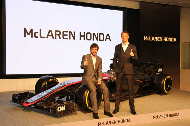 左:フェルナンド・アロンソ 右:ジェンソン・バトン/マクラーレン・ホンダ【2015 F1グランプリ】