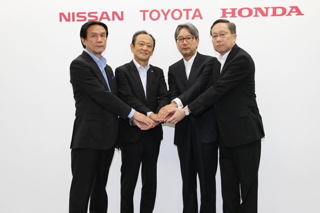 「自動車メーカー3社による水素ステーションの整備促進支援」共同記者会見にて
