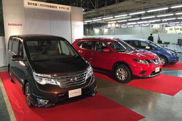 日産九州工場 生産累計1,500万台達成 オフライン式の模様