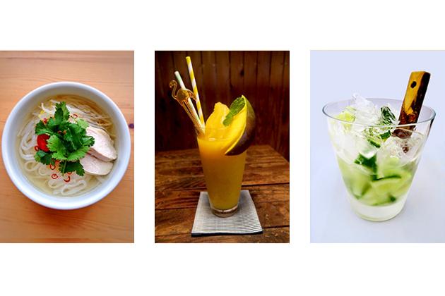 FOOD & DRINK(左から鶏肉のフォー、フレッシュマンゴー、ノンアルコールモヒート)