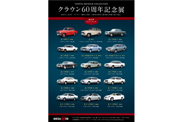 トヨタミュージアムコレクション クラウン 60周年記念展 ~継承と革新~ in MEGA WEB