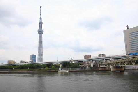 10分も走らないうちに、隅田川に到着する。ほんとに「ちょっと」だ。