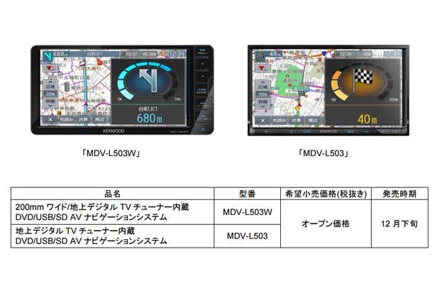 彩速ナビゲーション「MDV-L503W」「MDV-L503」