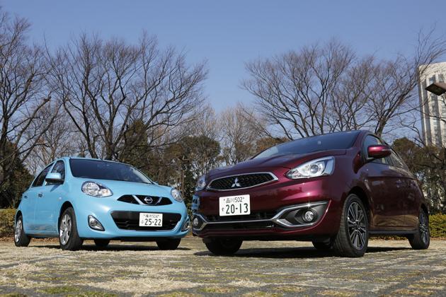 (左)日産 マーチ/(右)三菱 ミラージュ