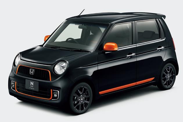 ホンダ「N-ONE」Premium Tourer特別仕様車 SSアーバンブラックパッケージ フロント7:3 スタイリング(クリスタルブラック・パール+オレンジ)