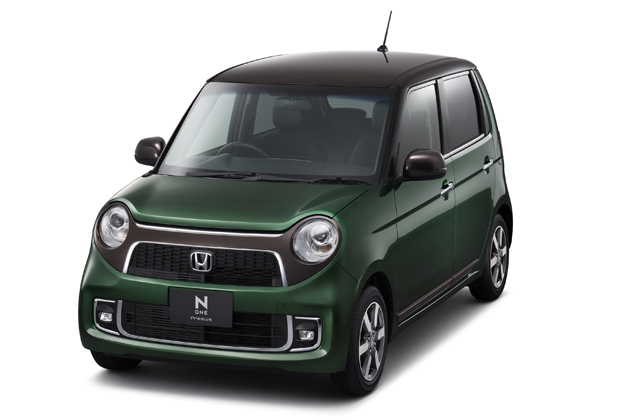 ホンダ「N-ONE」Premium特別仕様車  SSブラウンスタイルパッケージ(FF) フロント8:2 スタイリング (ブリティッシュグリーン・パール&ブラウン)