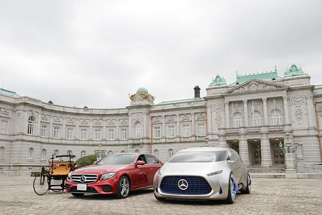 (左から)世界初の自動車「ベンツ ・パテント・モトールヴァーゲン」のレプリカ、メルセデス・ベンツ 新型「Eクラス」、コンセプトモデル「VISION TOKYO」