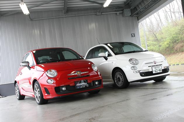 アバルト500(左)とフィアット500(右)