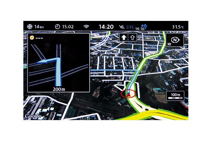 """新型ティグアン テレマティクス機能""""Guide & Inform"""" Google Earth 画面"""