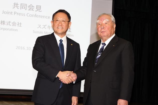トヨタ自動車 代表取締役社長 豊田章男氏とスズキ株式会社 鈴木修会長