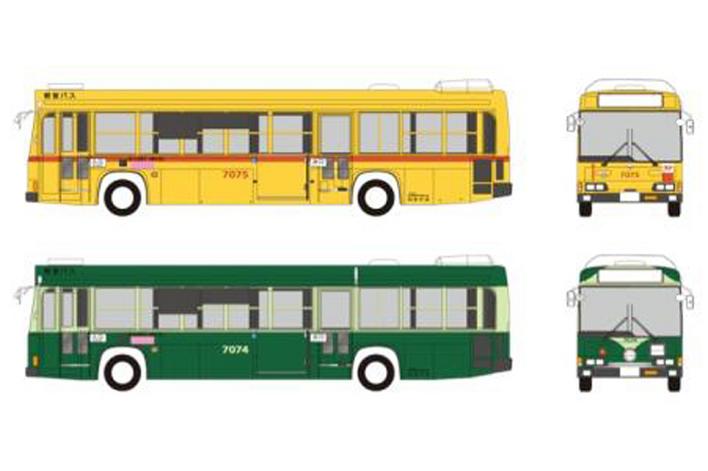 都電7000形デザインを都営バスにラッピングした「さよなら都電7000形記念バス」のイメージ