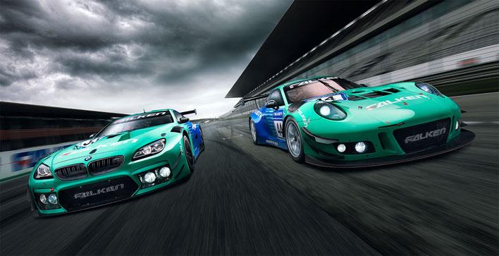 FALKEN Motorsports 「BMW M6 GT3」(左) 「Porsche 911 GT3R」(右)
