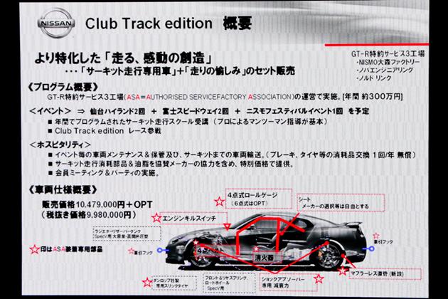 クラブトラックエディション。年間300万円で、年5回のサーキット走行や車両の保管、メンテナンスをパッケージ
