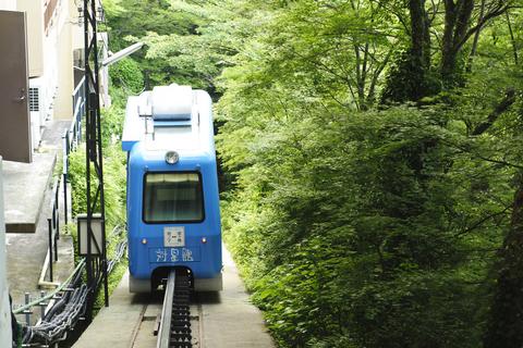 これがその渓谷電車。木々の間を、ゆっくりと下りていく・・・。